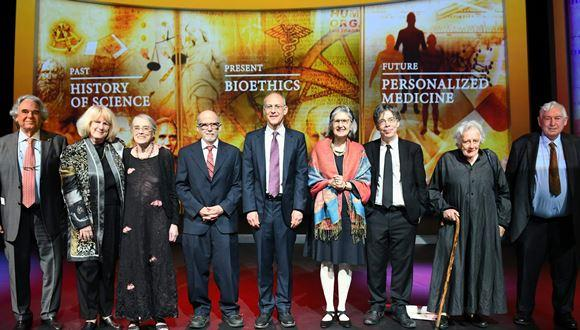 From left to right: Prof. Carlo Croce; Prof. Mary-Claire King; Prof. Evelyn Fox Keller; Prof. Bert Vogelstein; Prof. Ezekiel Emanuel; Prof. Lorraine Daston; Prof. Simon Schaffer;