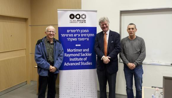 Prof. Marek Karliner, Prof. Wolfgang Schleich and Prof. Ady Arie (from left to right), Shenkar Physics Building, Tel Aviv University, March 2019.